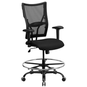 Flash Furniture HERCULES Series Big & Tall 400 lb. Rated Black Mesh Ergonomic Drafting Chair with Adjustable Arms -, WL-5029SYG-AD-GG