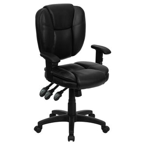 Offex Mid-Back Black Leather Multi-Functional Ergonomic Task Chair with Arms