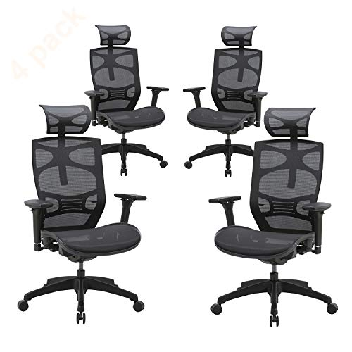 CLATINA Ergonomic Mesh Executive Chair with 4D Arm Rest and Adaptive Synchronize Seat High Back Swivel for Home Office BIFMA Certified 4 Pack