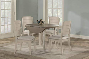 Hillsdale Furniture Round Drop Leaf Table 5 Piece Dining Set, Sea White