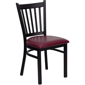 Offex Black Vertical Back Metal Restaurant Chair with Burgundy Vinyl Seat