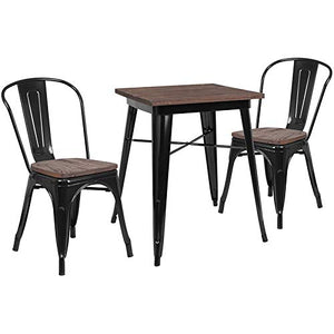 "Flash Furniture 23.5"" Square Black Metal Table Set with Wood Top and 2 Stack Chairs Black"