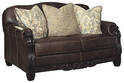 Signature Design by Ashley - Embrook Traditional Faux Leather Loveseat, Chocolate Brown