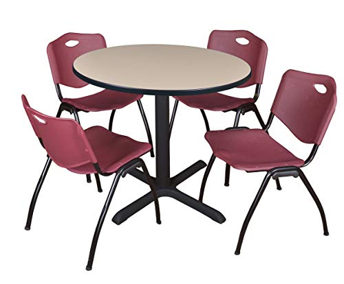 "Cain 36"" Round Breakroom Table- Beige & 4 'M' Stack Chairs- Burgundy"