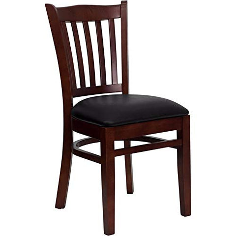 Offex Mahogany Finished Vertical Slat Back Wooden Restaurant Chair with Black Vinyl Seat