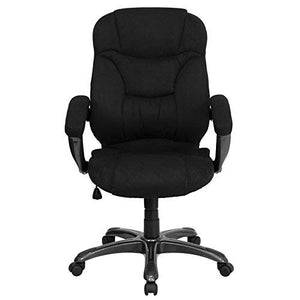 Flash Furniture High Back Black Microfiber Contemporary Executive Swivel Ergonomic Office Chair with Arms, GO-725-BK-GG