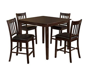 Furniture of America Letta 5-Piece Counter Height Table Set, Espresso Finish