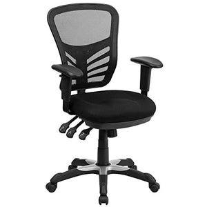 Flash Furniture Mid-Back Black Mesh Multifunction Executive Swivel Ergonomic Office Chair with Adjustable Arms, HL-0001-GG