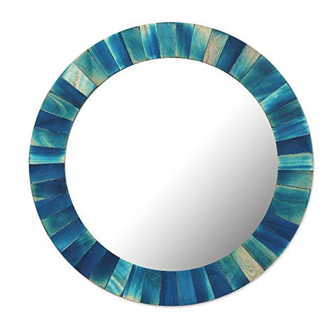 NOVICA 300572 Blue Radiance Wood Wall Mirror