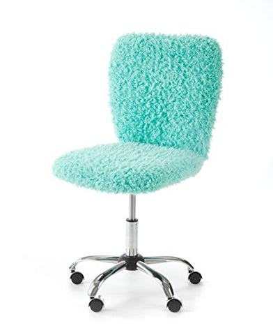 Urban Shop Faux Fur Rolling Task Chair, Mint