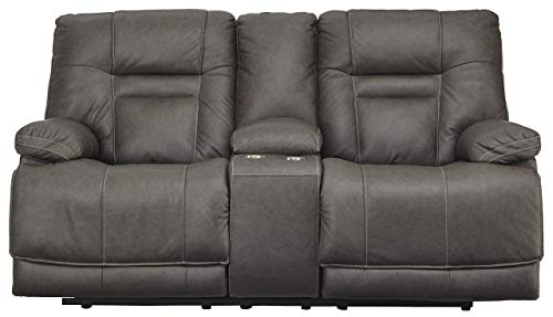 Signature Design by Ashley Wurstrow Power Reclining Loveseat Console Adjustable Headrest Smoke