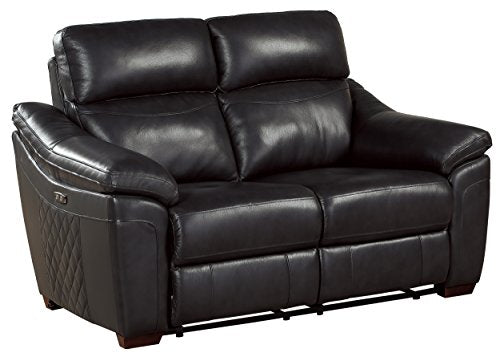 "Homelegance Renzo 65"" Power Double Reclining Love Seat, Dark Gray Leather"
