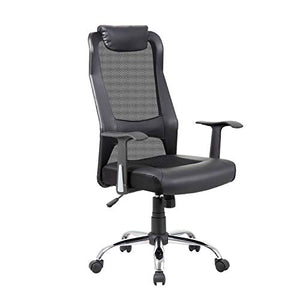 Squadise Upgraded Mesh Office Chair, Premium High-Back PU Leather Home Computer Desk Chair with Padded seat, Executive Ergonomic Task Chair Padded Headrest Lumbar Support Adjustable Arms-Black A