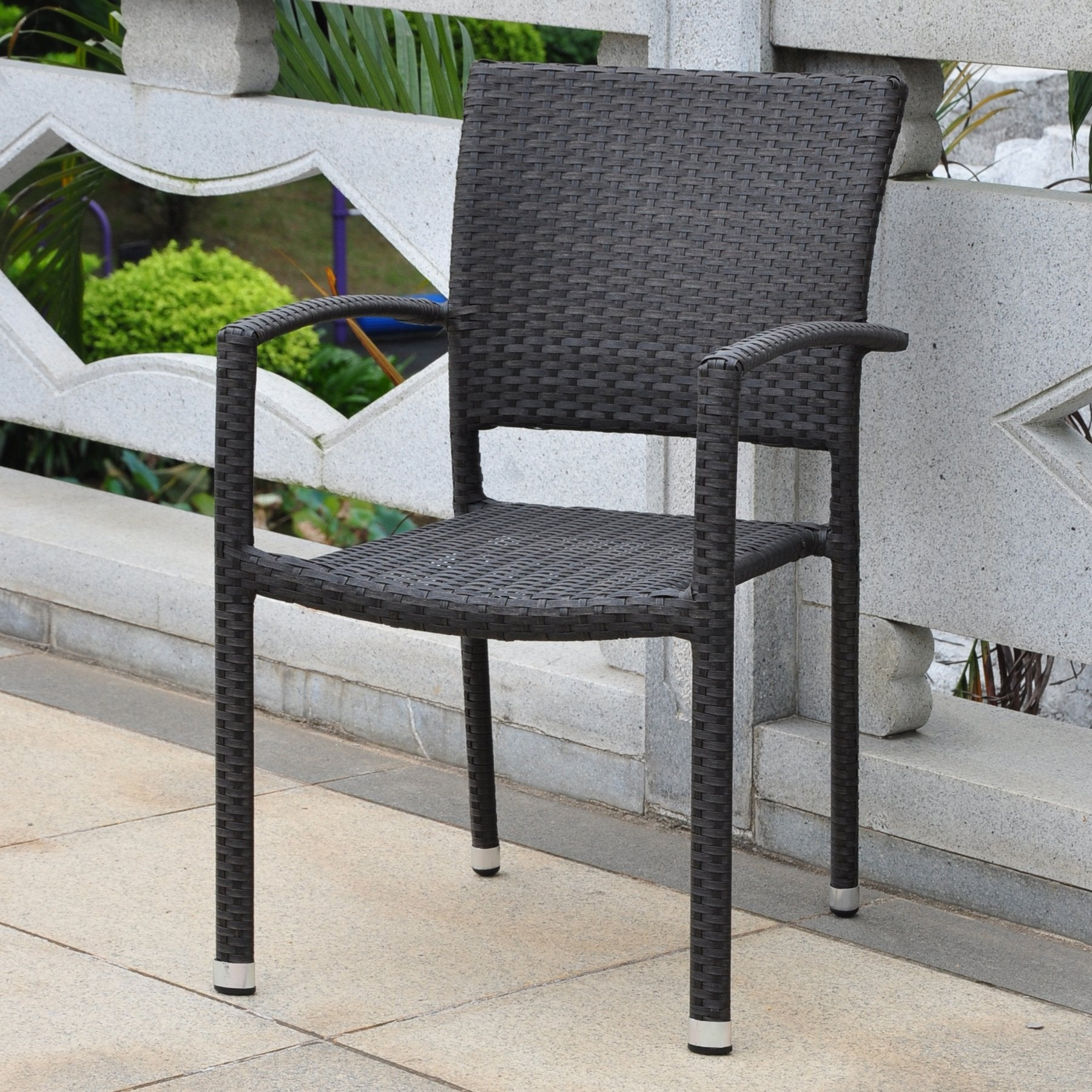 Barcelona Resin Wicker/ Aluminum Square Back Outdoor Stackable Armchair - Antique Black