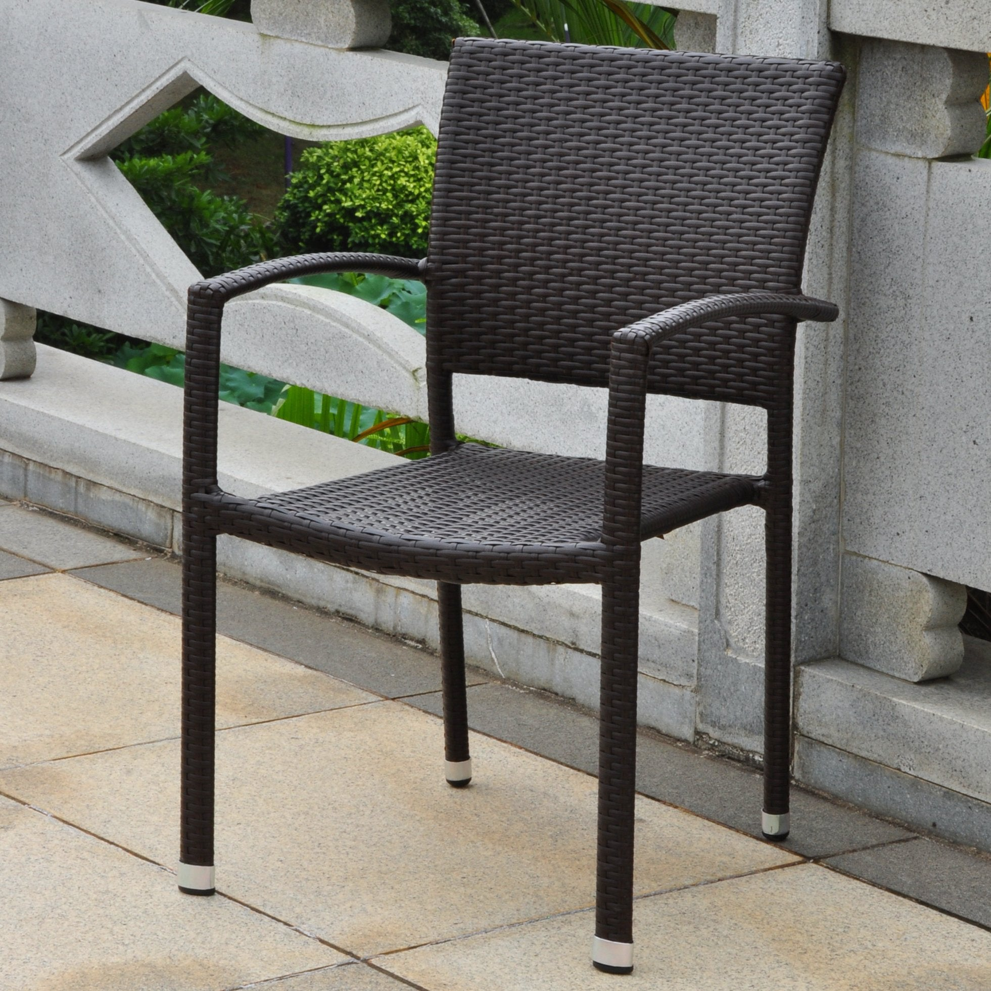 Barcelona Resin Wicker/ Aluminum Square Back Outdoor Stackable Armchair - Chocolate