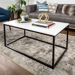 "42"" Mixed Material Coffee Table - Marble"