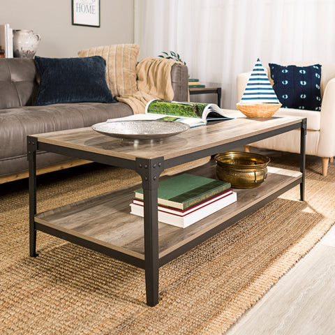 Angle Iron Rustic Wood Coffee Table - Grey Wash