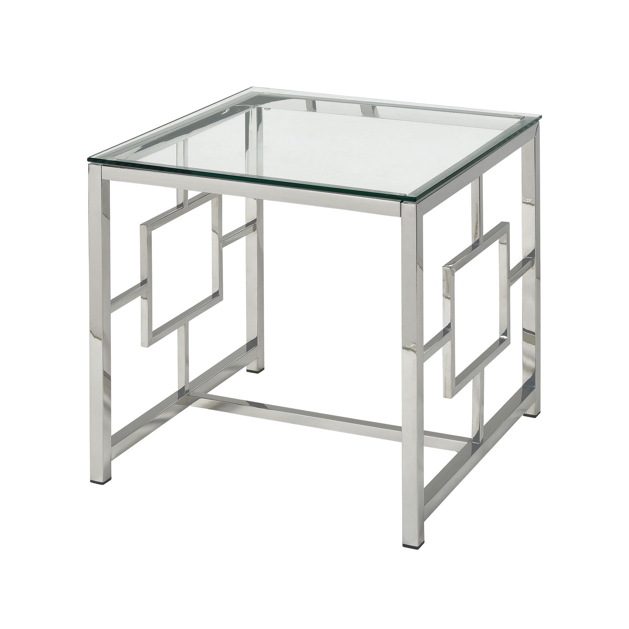 Winter Palace Stainless Steel and Tempered Glass Side Table