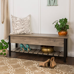 "48"" Open-Top Storage Bench with Shoe Shelf  - Gray Wash"