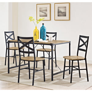 5-Piece Angle Iron Wood Dining Set - Barnwood