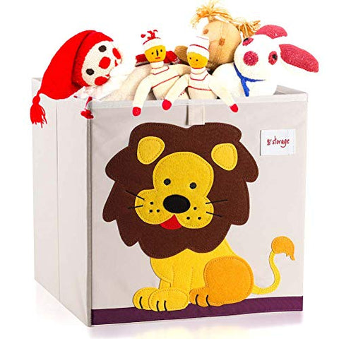Vmotor Foldable Animal Canvas Storage Toy Box/Bin/Cube/Chest/Basket/Organizer for Kids, 13 inch(Lion)