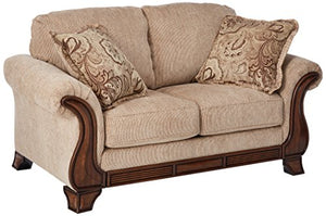 Signature Design by Ashley - Lanett Traditional Loveseat w/ 2 Pillows, Brown