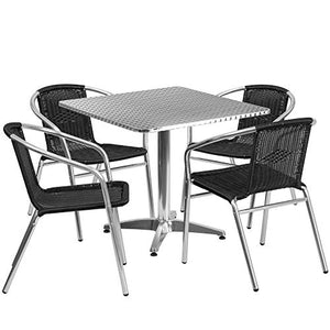 Flash Furniture 31.5'' Square Aluminum Indoor-Outdoor Table Set with 4 Black Rattan Chairs