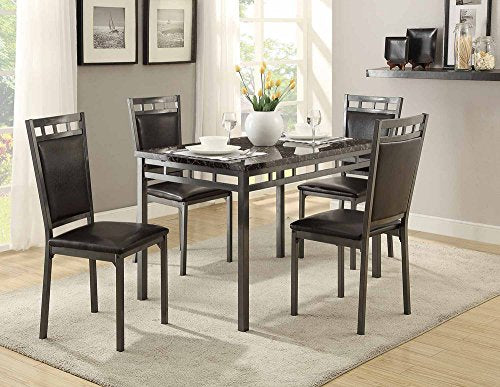 Homelegance 5 Piece Olney Dinette Set with Faux Marble Top, Brown/Gray