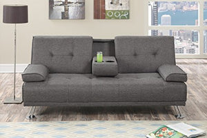 Poundex Imma Gray Slate Polyfiber Adjustable Sofa Bed, Grey
