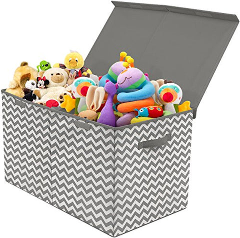Sorbus Toy Chest with Flip-Top Lid, Kids Collapsible Storage for Nursery, Playroom, Closet, Home Organization, Large (Pattern - Chevron Gray)