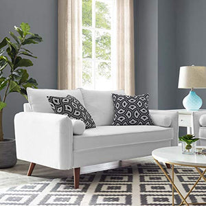 Modway Revive Contemporary Modern Fabric Upholstered Sofa In White