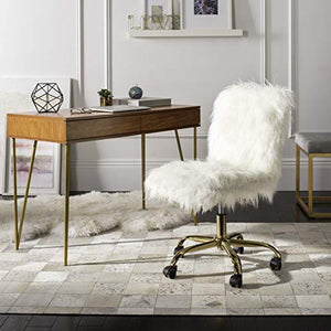 Safavieh Home Collection Whitney Swivel Office Desk Chair, White/Gold, White/Gold