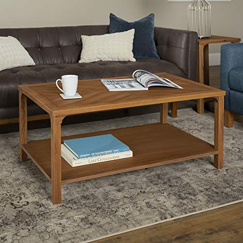 Walker Edison Furniture Company Farmhouse Chevron Square Wood Accent Coffee Table Living Room Ottoman Storage Shelf, Caramel Brown