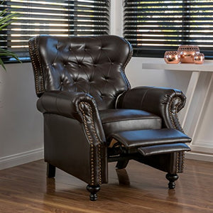 Christopher Knight Home Deal Furniture Waldo Brown Leather Recliner Club Chair