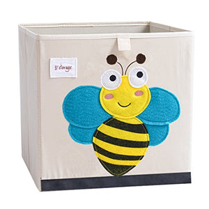 DODYMPS Foldable Animal Canvas Storage Toy Box/Bin/Cube/Chest/Basket/Organizer for Kids, 13 inch (Bee)