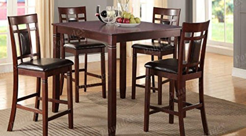 Poundex Giacomina 5-Pc Cherry Cashew Wood Counter Height Set by, Brown
