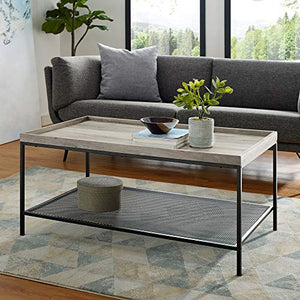 We Furniture Industrial Coffee Accent Table Living Room Rectangle, 42 Inch, Grey