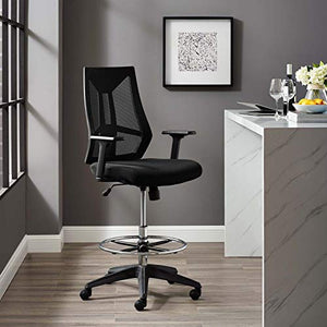 Modway Extol Mesh Drafting Chair In Black - Tall Office Chair For Adjustable Standing Desks