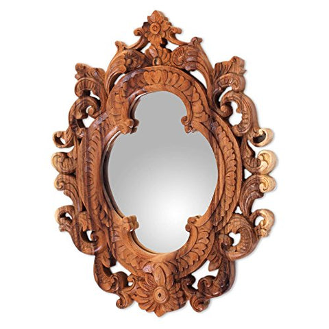 NOVICA Natural Suar Wood East Meets West Hand Carved Wall Mirror From Indonesia 'Mataram Rococo'