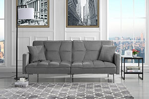 DIVANO ROMA FURNITURE Modern Plush Tufted Velvet Splitback Living Room Futon (Light Grey)