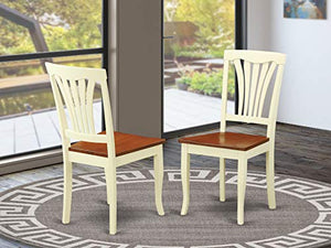 East West Furniture AVC-WHI-W Avon dining chairs - Wooden Seat and Buttermilk Hardwood Frame Dining Chair Set of 2