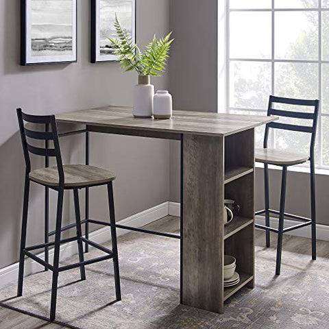 "Walker Edison Furniture Company 3 Piece Drop Leaf Counter Table Dining Set with Storage, 48"", Gray Wash"