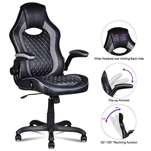 "LENTIA High Back Leather Office Chair Ergonomic Computer Desk Chair with Flip-up Armrest Lumbar Support - Black (25.59"" W × 27.56"" D × 44.09"" - 47.83"" H)"
