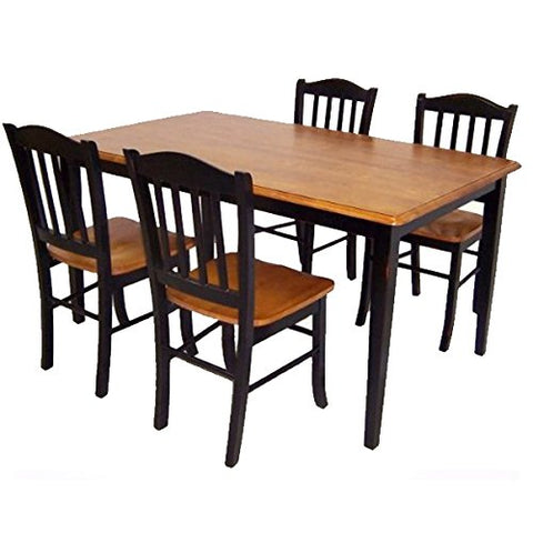 Boraam Shaker 5-Piece Dining Room Set, Black/Oak