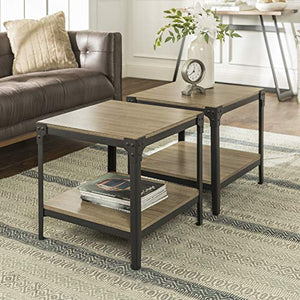 Walker Edison Furniture Company Rustic Farmhouse Square Wood And Metal Frame Side End Accent Table Living Room 2 Tier Storage Shelf, Set Of 2, Driftwood