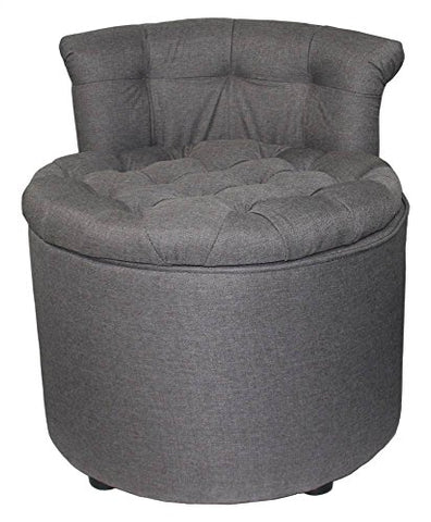 "Ore-International-24""H-Tufted-Rolled-Back-Seating-with-Storage-&-Ottoman"