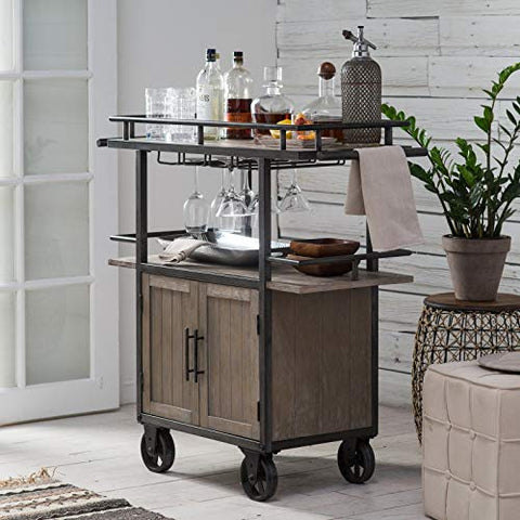Bronze-Brown-Wood-Metal-Modern-Industrial-Rustic-Farmhouse-Mobile-Home-Bar-Cart-with-Wine-Storage-Cabinet-Buffet-Serving-Cart