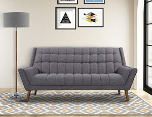 Armen Living Cobra Sofa in Dark Grey Linen and Walnut Wood Finish