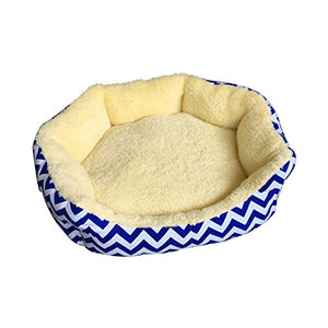 ALEKO PB22YB Extra Soft Round Pet Dog Bed with Extra Tall Sides 22 x 18 Inches in Cream with Blue and White Zigzag