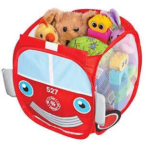 Smart Design Kids Pop Up Organizer Cube w/Animal Print - VentilAir Mesh Netting - for Toddlers, Baby Clothes, Plushies, Toys - Home Organization (10.5 x 11 Inch) [Red Fire Truck]